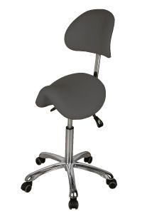Ergo - Sadelsete stol m / rygg grå